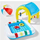 Bundle of 2: Sun Squad Inflatable Baby Play Pool with Removable Shade Cover Canopy and 14' Classic Beach Ball. Portable Plastic Blow Up Pools for Beach, Patio, Backyard Perfect for Toddlers, Children