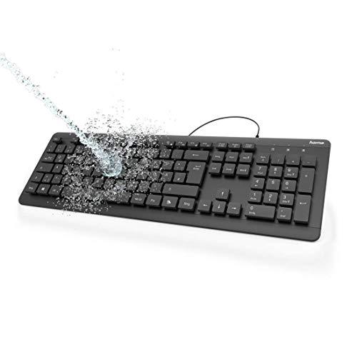 Hama abwaschbare Tastatur (wasserfeste Hygiene-Tastatur zertifiziert nach IPX7, laserbeschriftet, ergonomisch, kabelgebunden, deutsches QWERTZ Layout, USB-Anschluss, Zahlenblock) schwarz