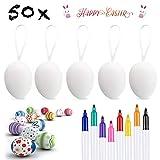 XDDIAS 50 x Uova di Pasqua Decorate, Appendere Le Uova di Plastica con La Corda, Pittura di Artigianato Fai da Te di Pasqua per La Decorazione e Regalo, con 8 Pennelli