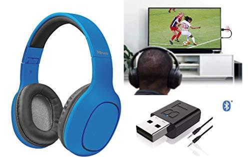 Auriculares para TV con transmisor inalámbrico Bluetooth 5.0 plegables con micrófono