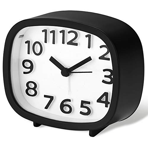 Jcobay Alarm Clocks Battery Operated Non Ticking Bedside Clocks Bedroom Accessories Silent Clock Simple to Set Analogue Clocks Office Desk Clock with Light Large Display for Heavy Sleepers Home