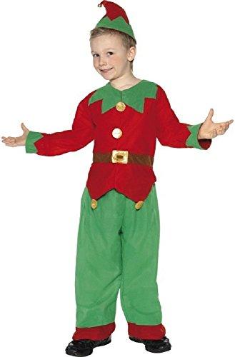 4 pièces garçon Fille de Père Noël Helper UTILE Elfe Costume Déguisement Noël 3-12 Ans - Rouge/Vert, Rouge/Vert, 9-12 Years