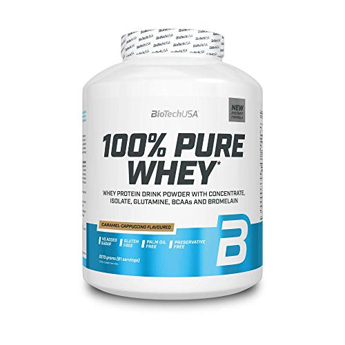 BioTechUSA 100% Pure Whey Protein Complex with bromelain Enzyme, Amino acids, sweeteners and no Added Sugar, Palm Oil Free, 2.27 kg, Caramel-Cappuccino