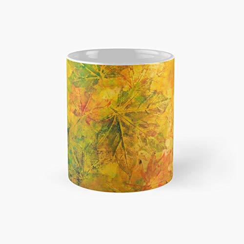 Taza clásica de pintura acrílica abstracta con follaje otoñal   El mejor regalo divertidas tazas de café de 325 ml