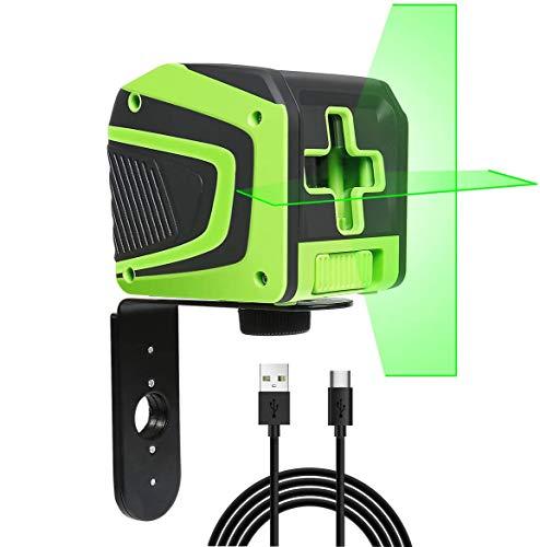 Kreuzlinienlaser Grün, Huepar Selbstnivellierend Linienlaser mit großem Lüfterwinkel, mit Wiederaufladbarer Batterie, 25m Arbeitsbereich, ± 0,3 mm/m Genauigkeit, IP54, mit Magnetischer Metallbasis