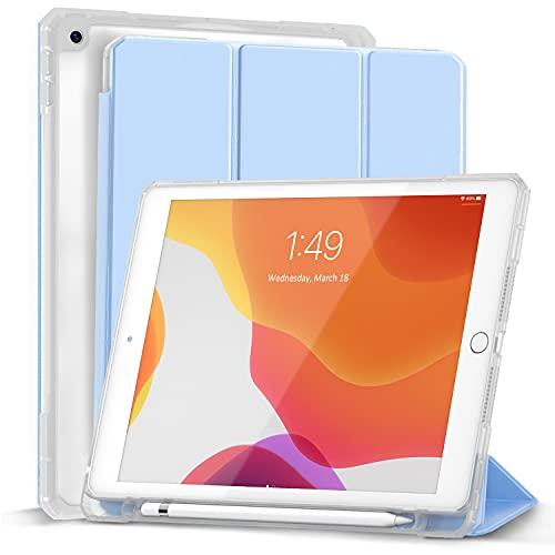 Gahwa Custodia Compatibile con iPad 8a Generazione 10.2 Pollici 2020 / 7a Generazione 2019 Built-in Pencil Holder, Case Tri-fold con Sottile Leggero Cover in Trasparente con Auto Sonno/Sveglia - Blu
