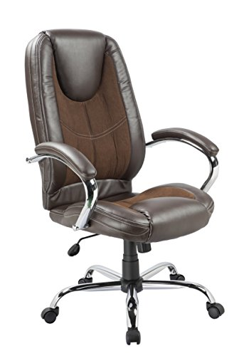 Office Factor Ergonomic High Back Executive Managerial Office Chair Padded Arms Swivel Brown Lumbar Support Head Rest Comfy Chair Contrast Stitching