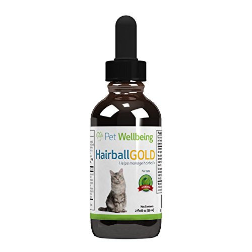 Pet Wellbeing Hairball Gold for Cats - Natural Hairball Management for Cats - 2oz (59ml)