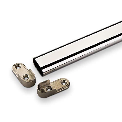 Sotech SO-TECH® Kleiderstange 2000 mm OVAL 30 x 15 mm Stahl verchromt Möbelrohr Schrankrohr Schrankstange inkl. Schrankstangenlager
