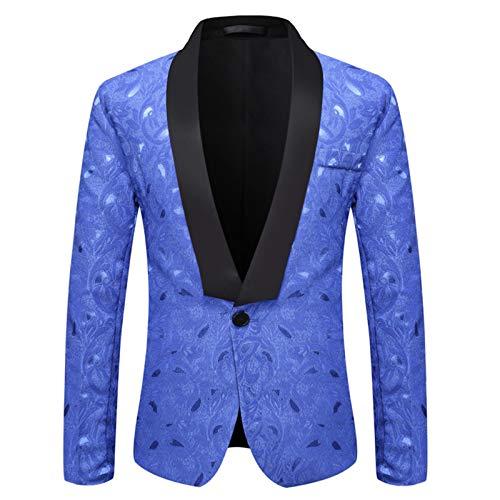 Mr.BaoLong&Miss.GO Autumn and Winter Mens Suit Mens Green Fruit Collar Suit Jacket Mens Jacquard Banquet Wedding Host Dress