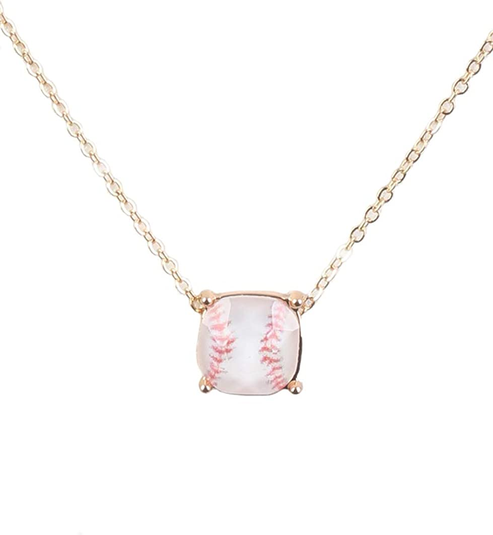 Fashion Jewelry ~ Goldtone White Baseball Pendant Necklace for Women Teens Girlfriends Birthday Gifts