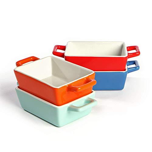 Mini platos de horno de cerámica - Juego de 4 | Horno a la mesa Platos para hornear | Colores rojo, azul, verde y naranja | Lasaña | Rectángulo M&W