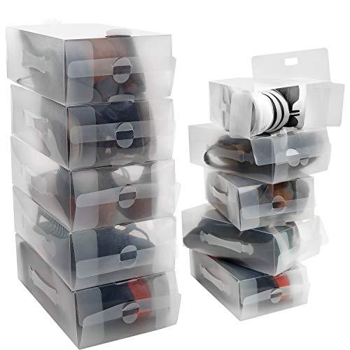 Kurtzy Caja Zapatos Plástico Transparente (Pack de 10) Apto para Zapatos de Mujer, Hombres y Niños - Organizador de Zapatos Plegable, Corrugado y Apilable para Viajes y Almacenaje