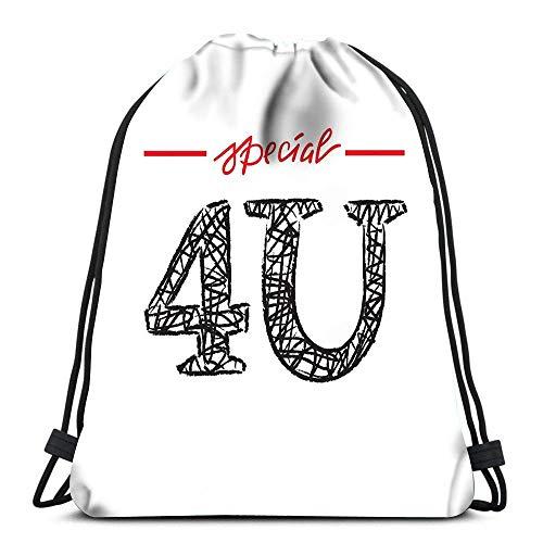N / A Kordelzug Rucksack Spezial 4U Sie einfach inspirieren Yoga Runner Daypack Schuhbeutel 36 x 43 cm / 14,2 x 16,9 Zoll