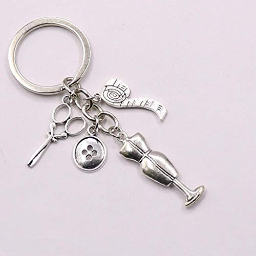 keyjiang 1 stuks Naaimachine meetlint sleutelhanger vervaardiging kleding sleutelring gift sieraden accessoires
