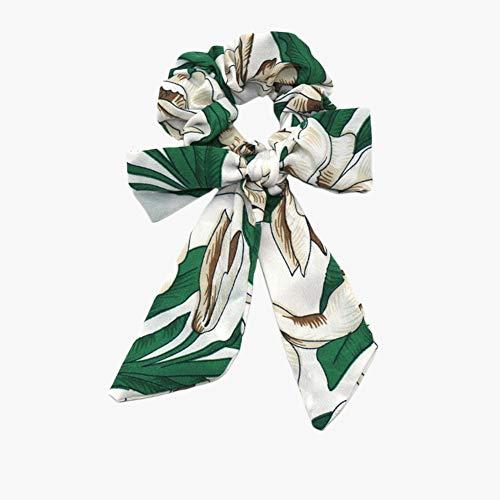 Kanggest. de Pelo Scrunchies Bandas del Pelo Flores Bandas elásticas para el Pelo Bufandas Bowknot Vintage Pañuelo para Mujer para Mujeres y niñas Accesorios para el Cabello-Blanco