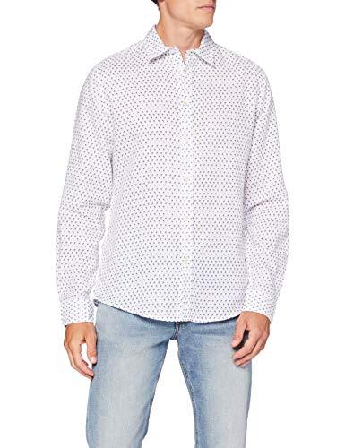 Springfield Linen Print-C/99 Camisa Casual, Blanco (White 99), L (Tamaño del Fabricante: L) para Hombre