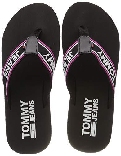 Hilfiger Denim Herren Stripe Tommy Jeans Beach Sandal Zehentrenner, Schwarz (Black 990), 43 EU
