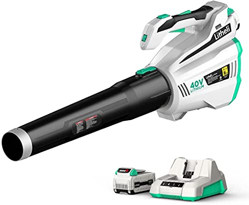 LiTHELi Cordless Garden Leaf Blower, 40V Electric Leaf Blower, 480CFM Battery Powered Blower, Powerful Brushless Motor with 2.5Ah Battery & Charger, Ideal for Home Garden Cleaning