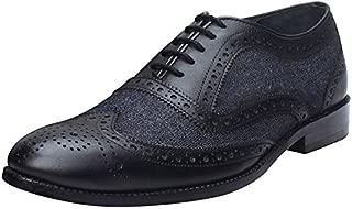 Brune Black Color Genuine Leather and Charcoal Grey Denim Formal Brogue Shoes for Men