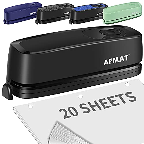 Electric 3 Hole Punch, Three Hole Punch Heavy Duty, 20-Sheet Punch Capacity, AC or Battery Operated Paper Puncher, Effortless Punching, Christmas Gift Paper Punch for Office School, Teacher Gifts
