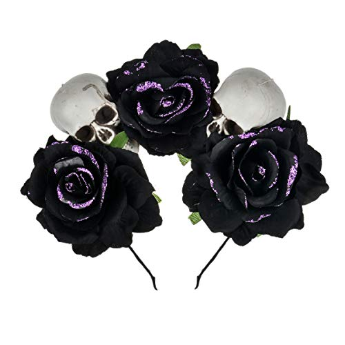 DDazzling Women's Oversized Large Rose Flower Headband Floral Crown Wreath Garland Halo Hairpiece - Black - One Size