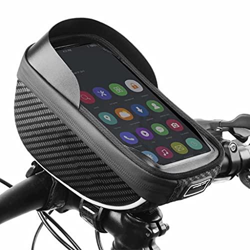 YZX Bolsa Bicicleta, Exterior portátil Bicicleta de montaña/Carretera Deportes Teléfono móvil Pantalla táctil Impermeable Bolsa de Manillar de Ciclo Equipo de Ciclismo, Negro,18×10.6×8cm