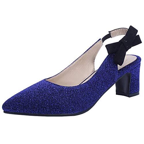 Lydee Damen Mode Pumps Mid Heels Slingback Party Schuhe Slip On Süss Bow Schuhe Funkelnd Blue Gr 46