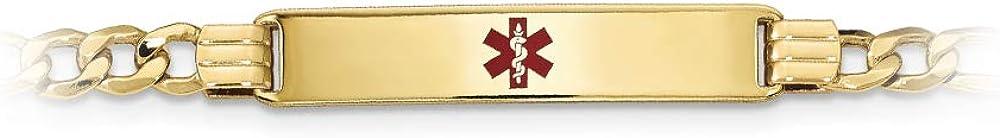 14k Yellow Gold Semi Solid Medical Red Enamel Figaro Link ID Bracelet