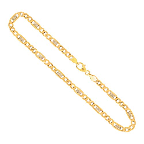 Goldkette als Fantasiekette Bicolor in Gelbgold / Weißgold 333 / 8K, 50 cm lang, 5,2 mm breit, Gewicht ca. 9.7 g.
