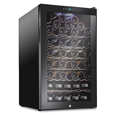 Ivation 51 Bottle Compressor Wine Cooler Refrigerator w/Lock | Large Freestanding Wine Cellar For Red, White, Champagne or Sparkling Wine | 41f-64f Digital Temperature Control Fridge Glass Door Black