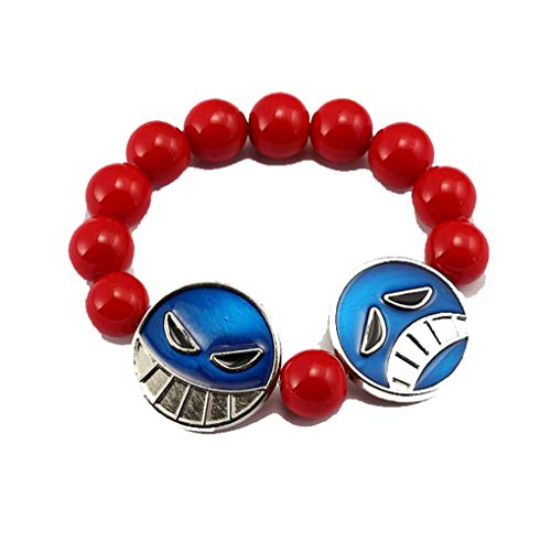 Weeck Anime One Piece Ace Red Bangle Bracelet Wristband Girl's Beads Cosplay Accessories (2)