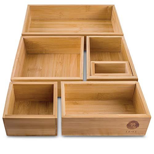 TAKE® 6-teiliges Schubladen Ordnungssystem Küche - 100% Natur Bambus Boxen, variable Schubladen Organizer Boxen in vers. Größen, Ideal als Schminktisch Organizer Schublade - Ordnungsboxen aus Bambus