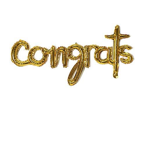 Congrats Balloons 45inch Script Letter Balloons Foil Banner Balloon, Handwriting Balloons Congrats Balloons Congratulations Balloons Banner rose gold 16 inch letter Balloons Foil Mylar Balloons Set for Graduation Party Decorations Supplies,Congratulations