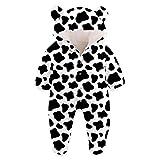 Kids4ever Baby Schneeanzüge Winter Overall mit Kapuze Lustig 3D Kühe Druck Weiß und Schwarz Fleece Strampler 0-3 Monate Mädchen Jungen Footed Jumpsuit Onesies