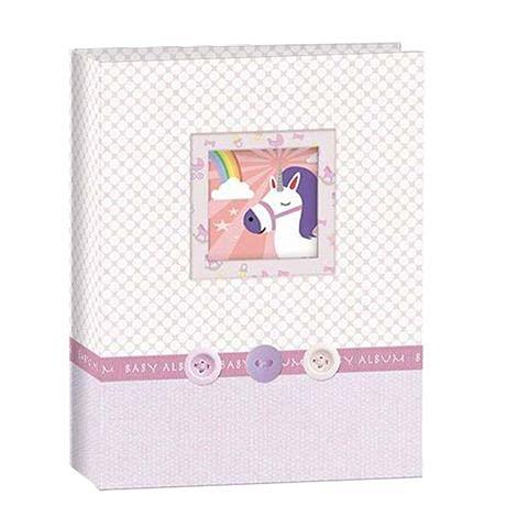Album de bebê 15X21 com visor e diario do bebe 15181 para 100 fotos (ROSA)