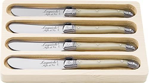 Laguiole Style de Vie Buttermesser Premium Line, 4-teilig, Perle