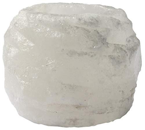 HIMALAYA SALT DREAMS - Salzkristall Teelichthalter ROCK, Gewicht: ca. 400 g, White Line aus Punjab / Pakistan