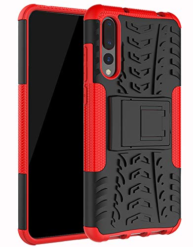 Yiakeng Funda Huawei P20 Pro Carcasa, Silicona a Prueba de Choques Soltar Protector con Kickstand Case para Huawei P20 Pro (Rojo)