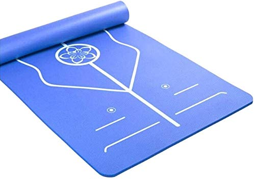 GDFEH Esterilla de entrenamiento respetuosa con el medio ambiente, antideslizante, ligera, para yoga, fitness, entrenamiento, viajes, mujeres y hombres (color: azul, tamaño: 185 x 90 x 15 cm)