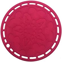 Multi-Purpose silicone pot holders heat resistant hot pads flexible trivet for table kitchen (Pink)