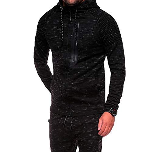 juqilu Herren Herbst Casual Langarm Schneeflocke Jacquard Pullover Mit Kapuze Top Sport Sweatshirt Hoodies Jacke Outwear Nur Schwarze Tops 2XL