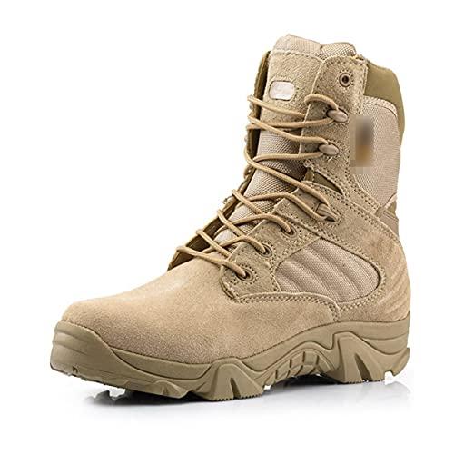 Al aire libre Senderismo Zapatos de los Hombres Profesional Senderismo Camping Caza Zapatos Impermeable Militar Botas, Sandy High, 42 EU