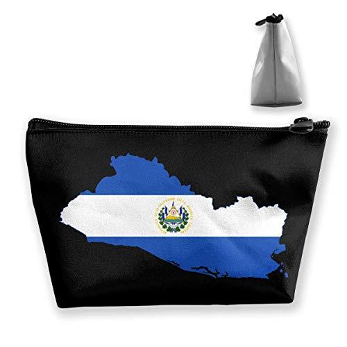 Drapeau de Salvador EL Portable Maquillage Recevoir Sac de Rangement Grande Capacité Poches Main Travel Wash Bag
