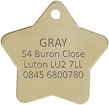 Grande Bow Wow Meow Personalizado Chapa identificativa de Lat/ón S/ólido para Mascotas con Forma de Estrella Servicio DE Grabado