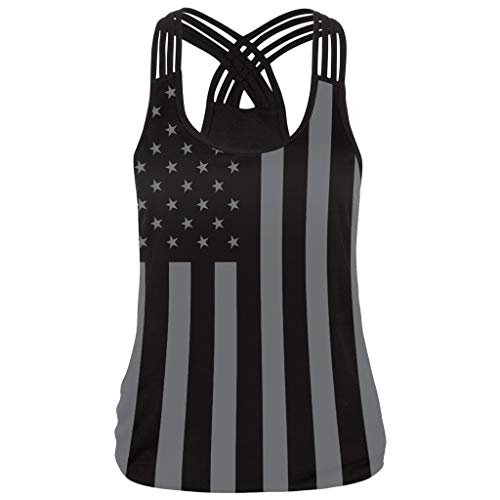 RespctfulWomen's 4Th of July Clothing Racer Back American Flag Swing Tank Tops Stripe Printed Casual Blouse T Shirt Black
