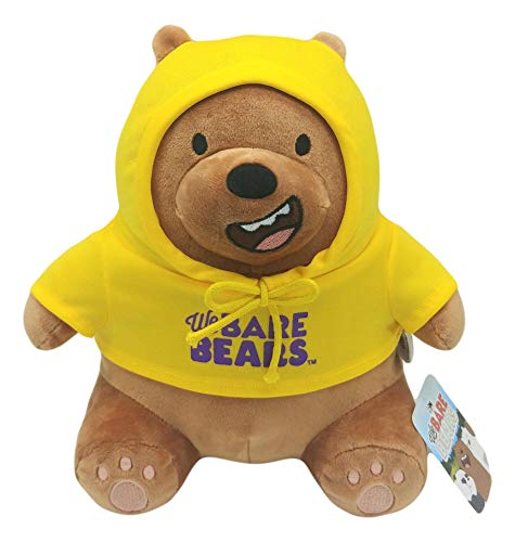 We Bare Bears Cartoon Character Stuffed Animals Grizzly Sitting in Yellow Hoodie Teddy Bear Gift 10'