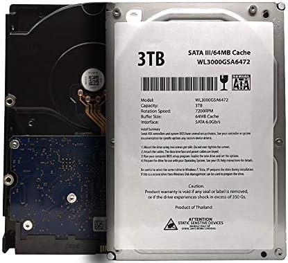 WL 3TB 7200RPM 64MB Cache SATA III 6.0Gb/s 3.5″ Internal Desktop Hard Drive (For RAID, NAS, DVR, Desktop PC) w/1 Year Warranty