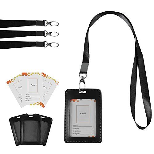 Gimars Porta Badge ID Tessere Verticale da Collo in Pelle/Porta Pass Identificazione con Inserito e Cordino Porta Badge per Conferenza Eventi Impiegati Esibizioni Mostra Attività a Gruppo 3 Sets Nero