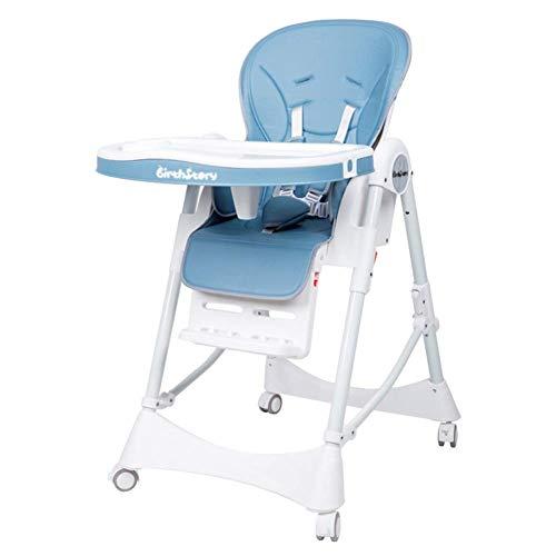 CCLLA Tragbarer klappbarer Babyhochstuhl, höhenverstellbarer Sitzerhöhungssitz, mit 5-Punkt-Gurt und Tablett (Farbe: Blau, Größe: Mit Rad)